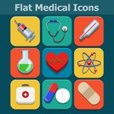 Medical vector flat color icons set Stock Images