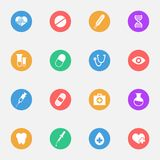 Medical vector flat icons on the color substrate set of 16. On white background royalty free illustration