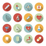 Medical vector flat icons set Royalty Free Stock Photo