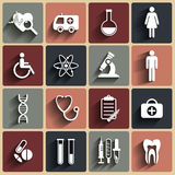 Medical vector flat icons set Royalty Free Stock Photos