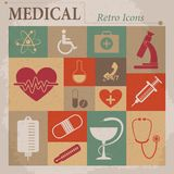 Medical vector flat retro icons Stock Photography