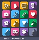Medical Vector Icons With Long Shadow Set 9 Royalty Free Stock Images