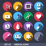 Medical Vector Icons With Long Shadow Set 10 Stock Image