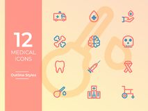 Medical Vector Icons, Medical symbol. Outline Icons with two tone colors for website, mobile apps. 12 Medical Vector Icons, Medical symbol. Simple Outline Icons stock illustration