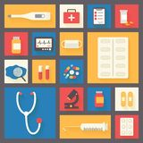 Medical vector icons set. Ambulance and Royalty Free Stock Photography