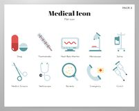 Medical icons flat pack royalty free illustration
