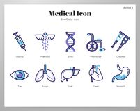 Medical icons LineColor pack royalty free illustration