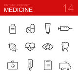Medical vector outline icon set Stock Photography