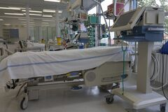 Medical ventilator and bed  in intensive care unit in hospital,  a place where can be  treated patients with pneumonia caused by