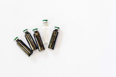 Medical vials with extract Royalty Free Stock Photos