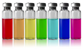 Medical vials in a row by color spectrum Royalty Free Stock Photo