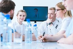 Medical video conference stock images