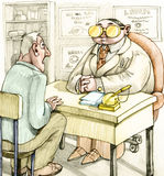 Medical Vision. A patient amazed at the desk of a famous doctor, the doctor has two gold coins instead of spectacles Royalty Free Stock Photo