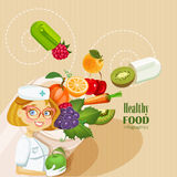 Medical vitamins and minerals background. royalty free illustration