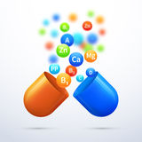 Medical vitamins and minerals background. Pill and care healthy, capsule pharmaceutical vector illustration Stock Image