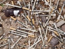Medical Waste Syringe Dump Royalty Free Stock Images