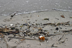 Medical waste washed up on a beach Royalty Free Stock Photos