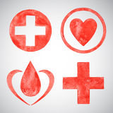 Medical watercolor vector symbols Royalty Free Stock Photos