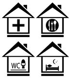 Medical, wc, food and bed on home icon Stock Photography