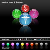 Medical Web Buttons. Image of various colorful web buttons and medical icons Stock Photo
