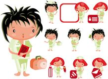 Medical website icons staff  kids Stock Image