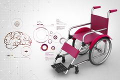 Medical wheel chair with virus in color background. 3d illustration of Medical wheel chair with virus in color background Royalty Free Stock Photos