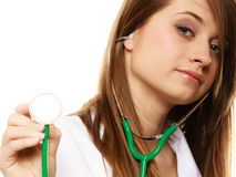 Medical. Woman doctor in lab coat with stethoscope Stock Photos