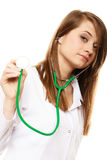 Medical. Woman doctor in lab coat with stethoscope Stock Image