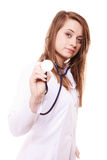 Medical. Woman doctor in lab coat with stethoscope Royalty Free Stock Photos