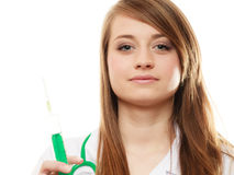 Medical. Woman doctor in lab coat with syringe Stock Photo