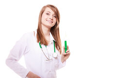 Medical. Woman doctor in lab coat with syringe Royalty Free Stock Images