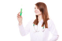 Medical. Woman doctor in lab coat with syringe Stock Photography
