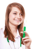 Medical. Woman doctor in lab coat with syringe Stock Image