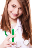 Medical. Woman doctor in lab coat with syringe royalty free stock photography