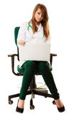 Medical. Woman doctor working on computer laptop Royalty Free Stock Photography