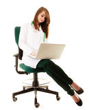 Medical. Woman doctor working on computer laptop Stock Photo