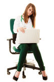 Medical. Woman doctor working on computer laptop Stock Images