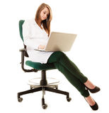 Medical. Woman doctor working on computer laptop Royalty Free Stock Image