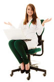 Medical. Woman doctor working on computer laptop Stock Image