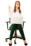 Medical. Woman doctor working on computer laptop Royalty Free Stock Images