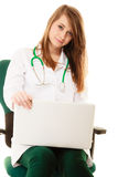 Medical. Woman doctor working on computer laptop Stock Photography