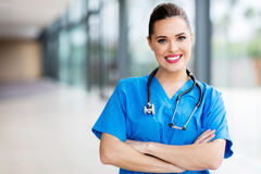 Medical worker arms folded Stock Photos