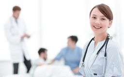 Medical worker in medical Center. Photo with copy space stock image
