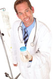 Medical worker holding a specimen bottle Royalty Free Stock Image
