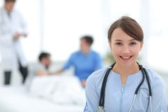 Medical worker in medical Center. Photo with copy space royalty free stock image