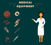 Medical worker in white coat demonstrates medical equipment. Dumbbells, wheelchair, cane, crutches, and other Royalty Free Stock Image