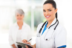 Medical worker writing Stock Photo