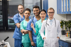 Medical workers with equipment in laboratory royalty free stock image
