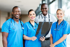 Medical workers in hospital. Portrait of professional medical workers in hospital stock image