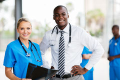 Medical workers in hospital. Portrait of professional medical workers in hospital stock photography